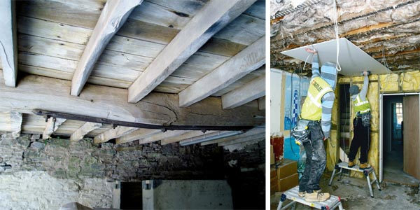 A suspended timber floor; Fitting insulation from below