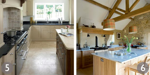 L-shaped kitchen with painted cabinets; Oak finish kitchen with natural stone surfaces