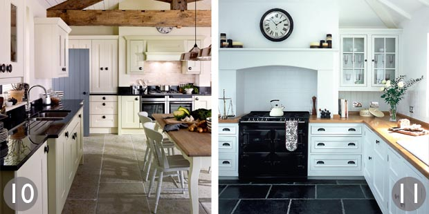 Kitchen with painted cabinets and solid and glass panelled wall cupboards; White painted kitchen