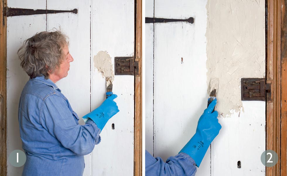 Before you strip paint, patch test an area; Apply paint stripper to door