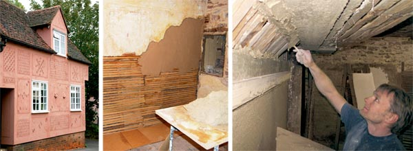 'Decorative render, or 'pargeting' designs; Repairing a lath and plaster wall; Plastering laths