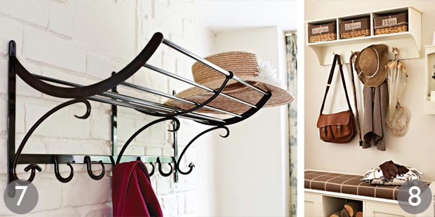 wendle hand forged iron rack painted triple storage bench and peg shelf - Coat Hooks With Storage
