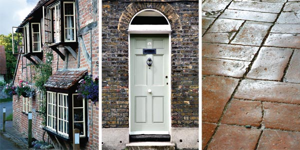 Traditional houses; The front door of a Georgian terrace; Old brick floors