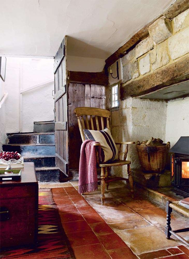 Large fireplace in traditional 14th century home