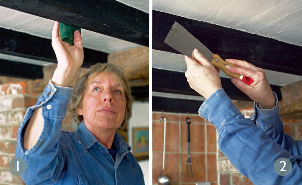 How to lighten oak beams steps 1 and 2