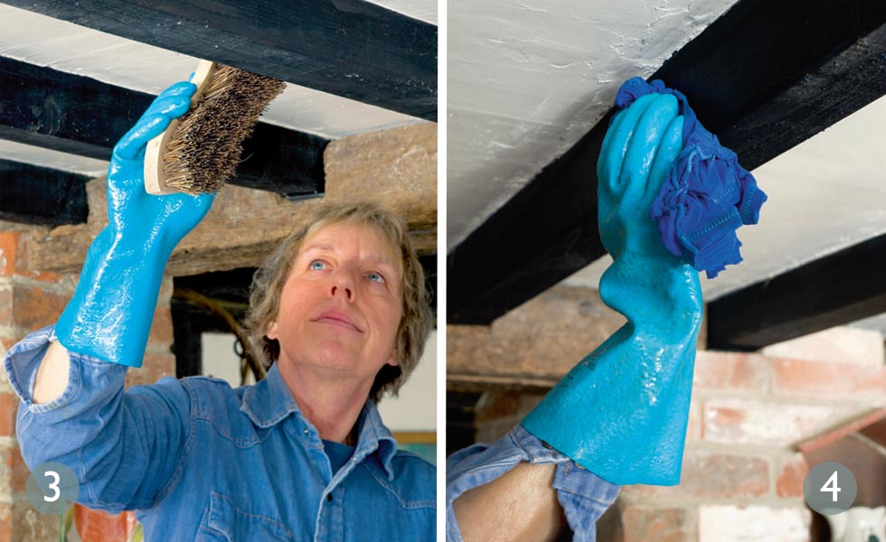 How to lighten oak beams steps 3 and 4