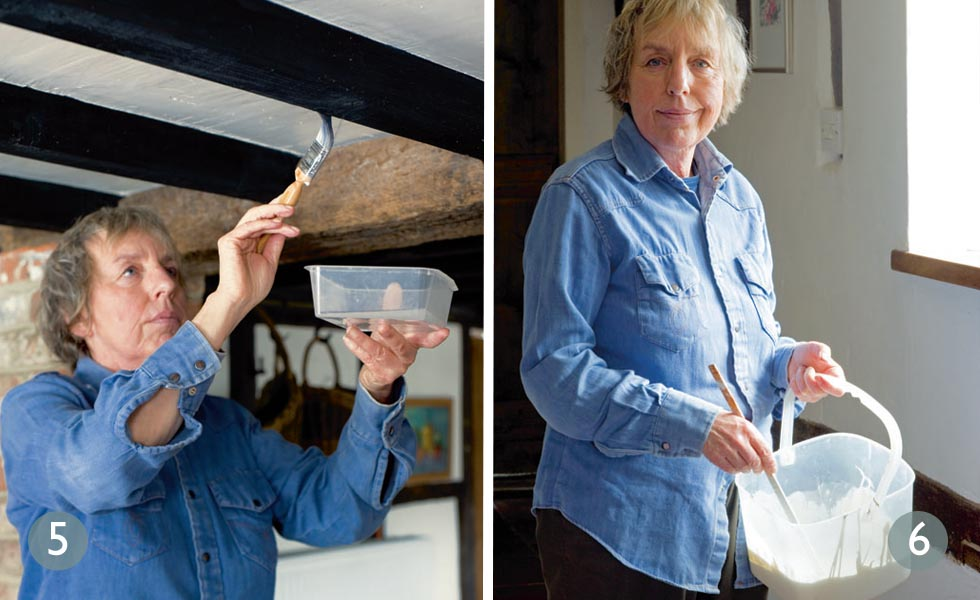 How to lighten oak beams steps 5 and 6