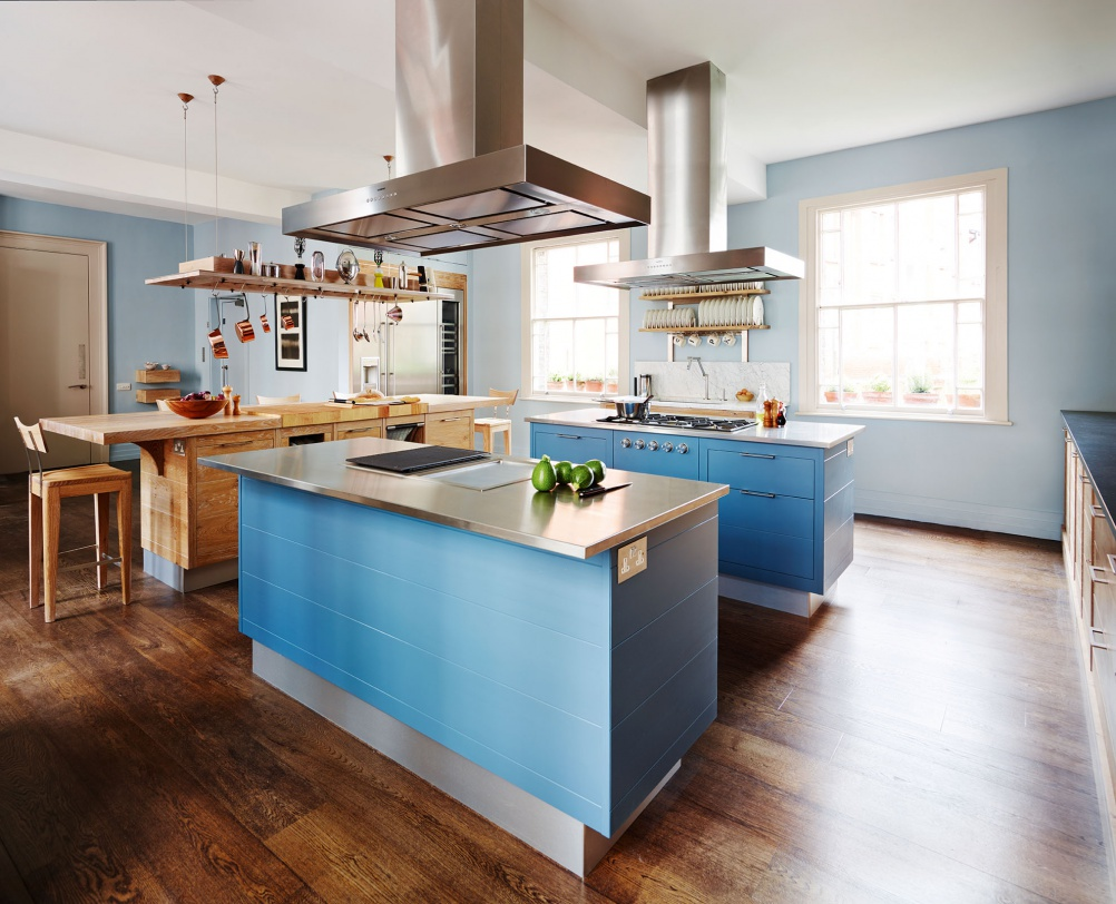 Kitchen double island design - The New Brasserie Kitchen From Smallbone Can Incorporate Double Island Layouts Shown With A Bold Blue Paint Finish From 40 000 For A Kitchen