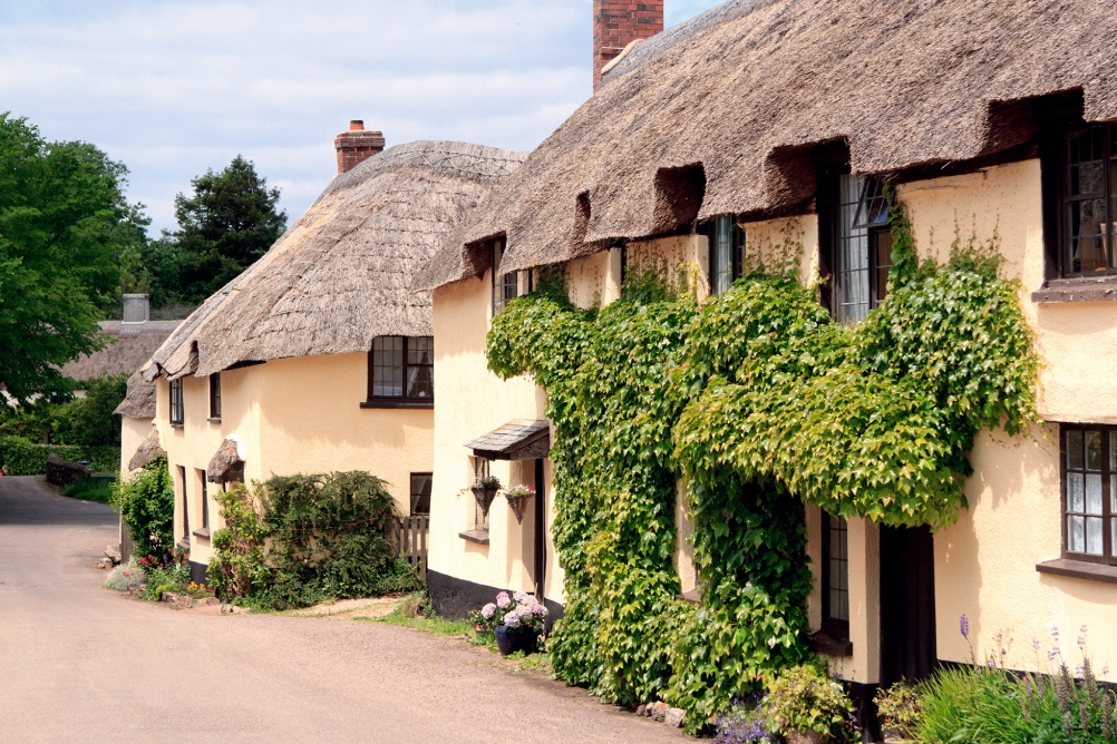 picture postcard village with thatched roofs