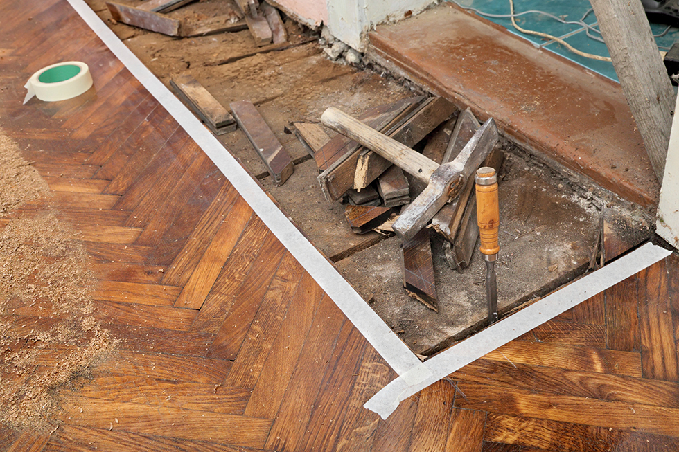 Old floor with wood lifted