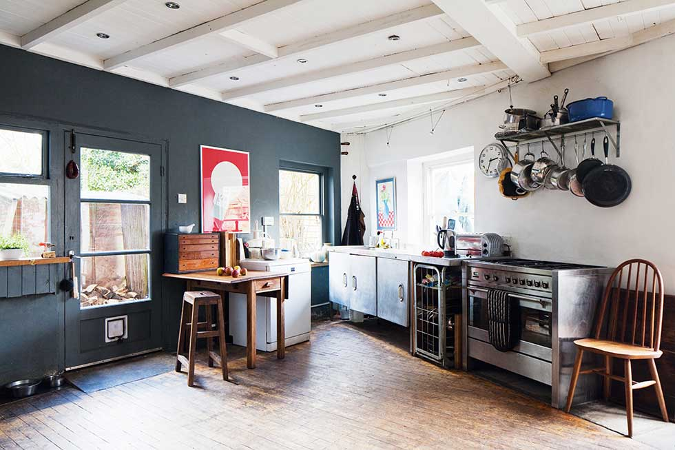 freestanding kitchen in a converted brewery