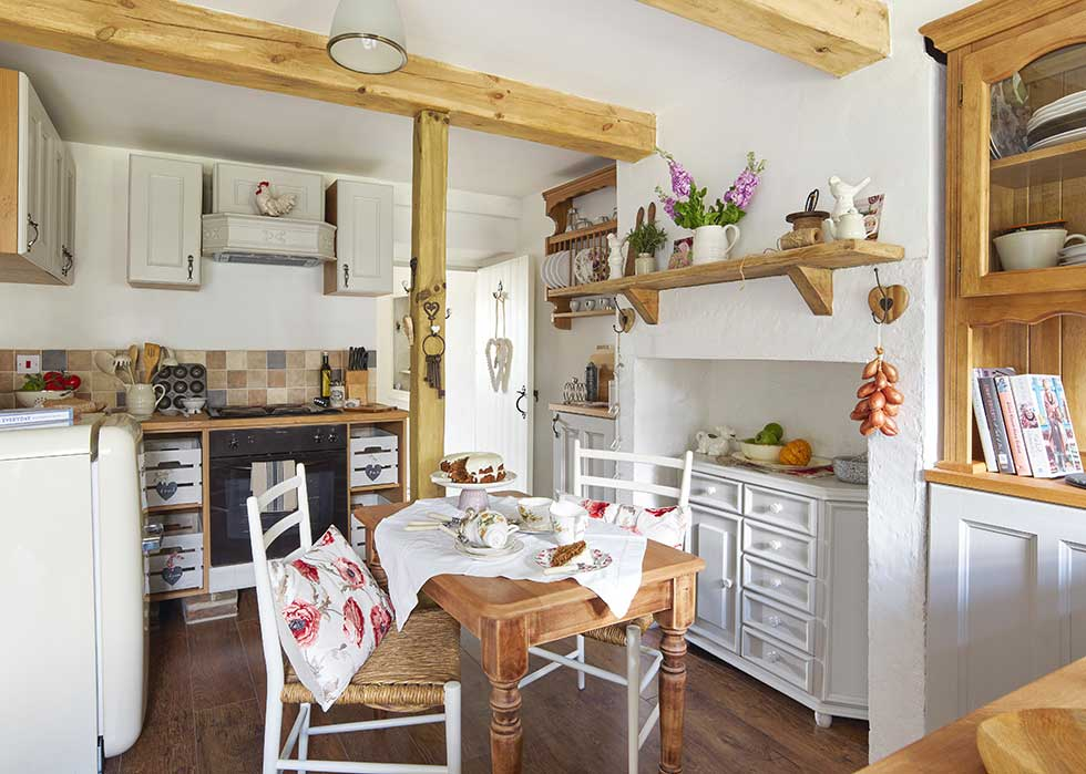 freestanding vintage kitchen in a stone cottage