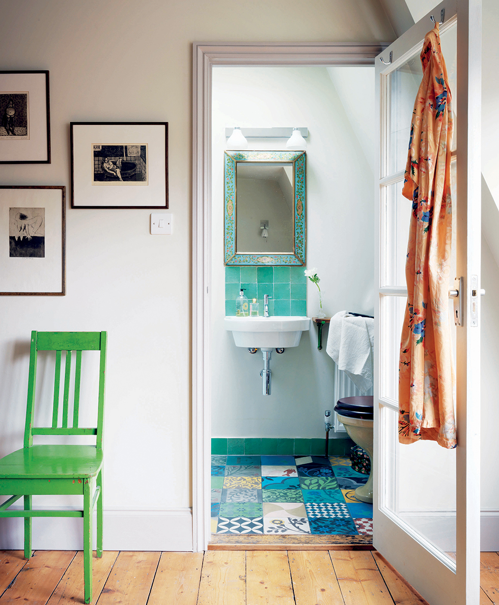 Bathroom with patchwork tiling