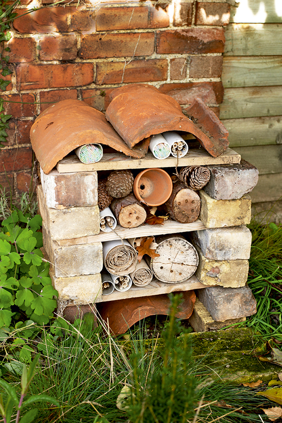 Homemade bug hotel garden craft