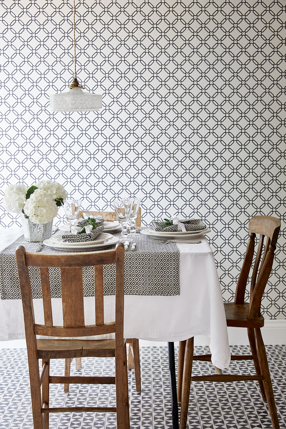 Marks And Spencer Dining Table And Chairs Images Marks  : geometric wallpaper dining room from favefaves.com size 980 x 1470 jpeg 546kB