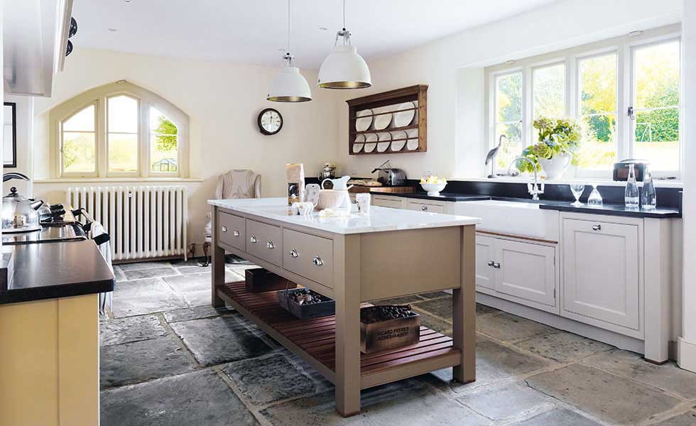 Martin Moore Sutton kitchen with stone floor and kitchen island