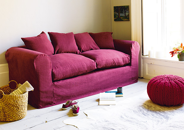 Bazaar sofa bed in blackcurrant from Loaf