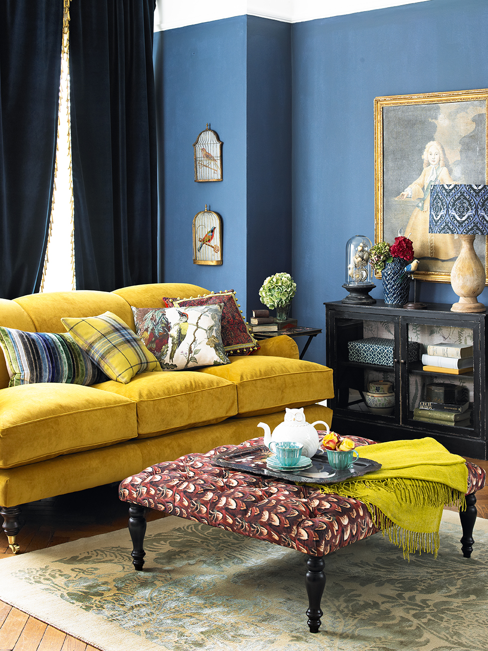 Eclectic british decorating ideas period living Yellow wall living room decor