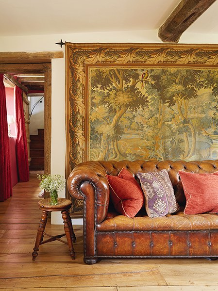 cotswold house renovation sofa tapestry