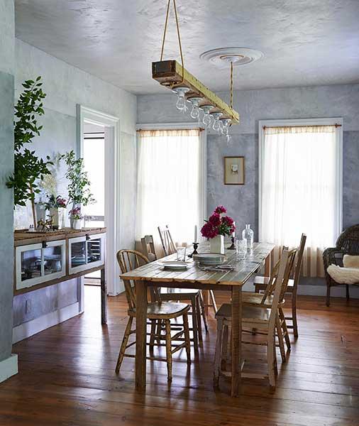 modern pastoral book dining room