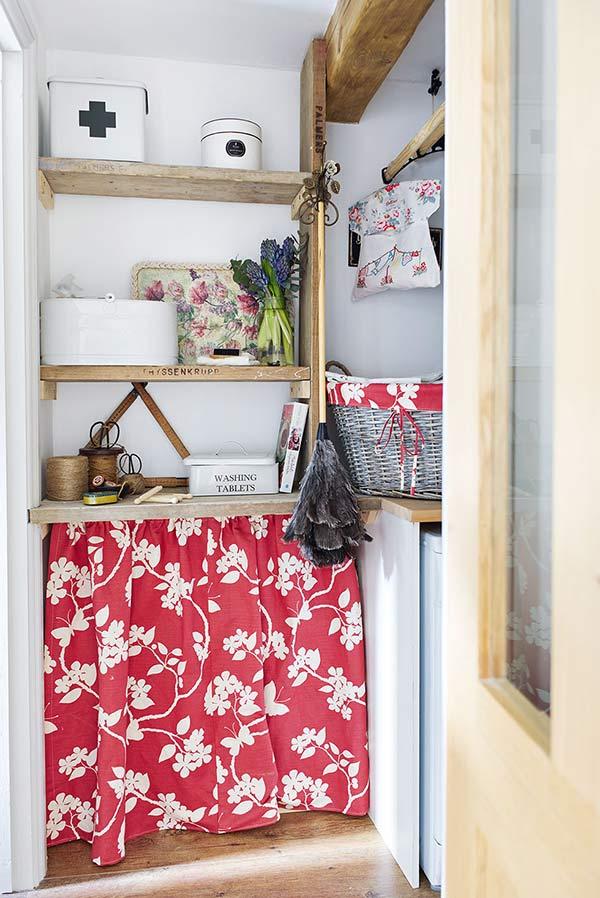 curtained off worktop storage with vanessa Arbuthnott storage