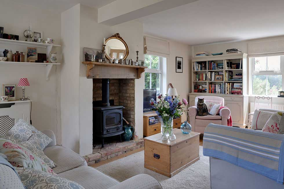 vintage style livingroom in a traditional cottage