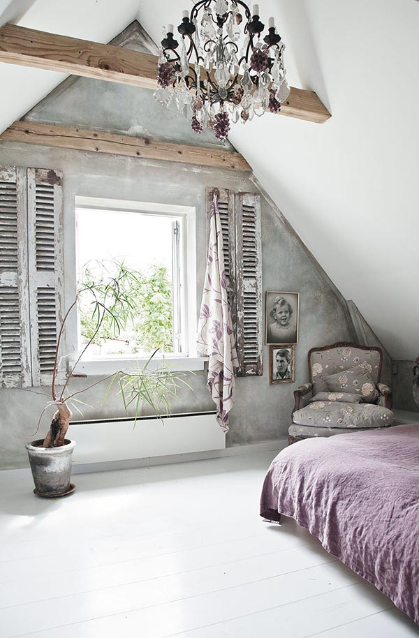 country style bedroom in a danish rural retreat