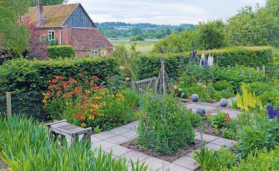 patchwork vegetable gardens in a traditional kitchen garden
