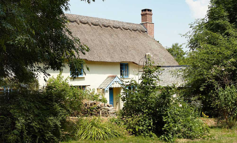 white thatched roof farmhouse surrounded by greenery