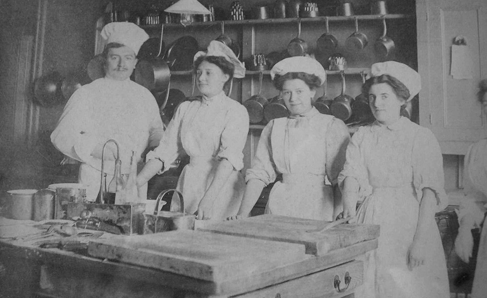 Polesden Lacey Chef and staff in the kitchen c.1905-1907