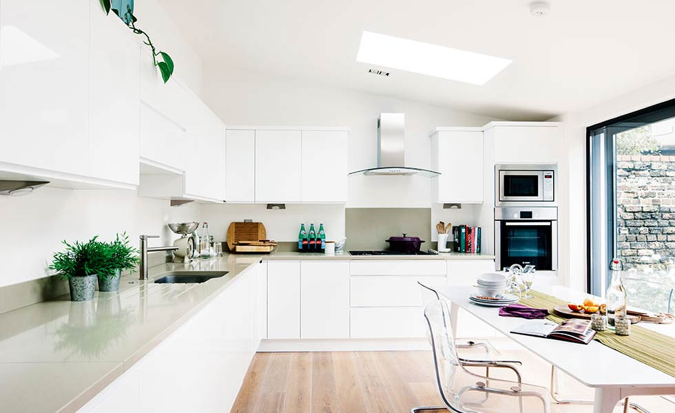contemporary kitchen extension was added to this victorian home and