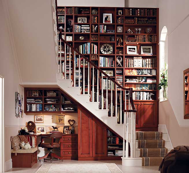 Neville Johnson staircase with bookcase library