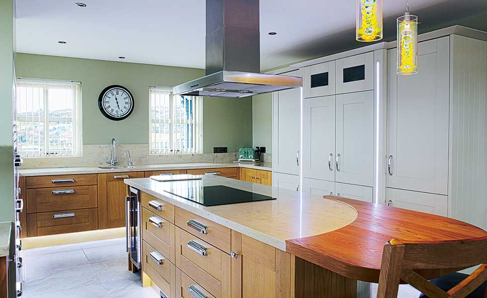 Second Nature kitchen with natural oak and almond painted cabinets