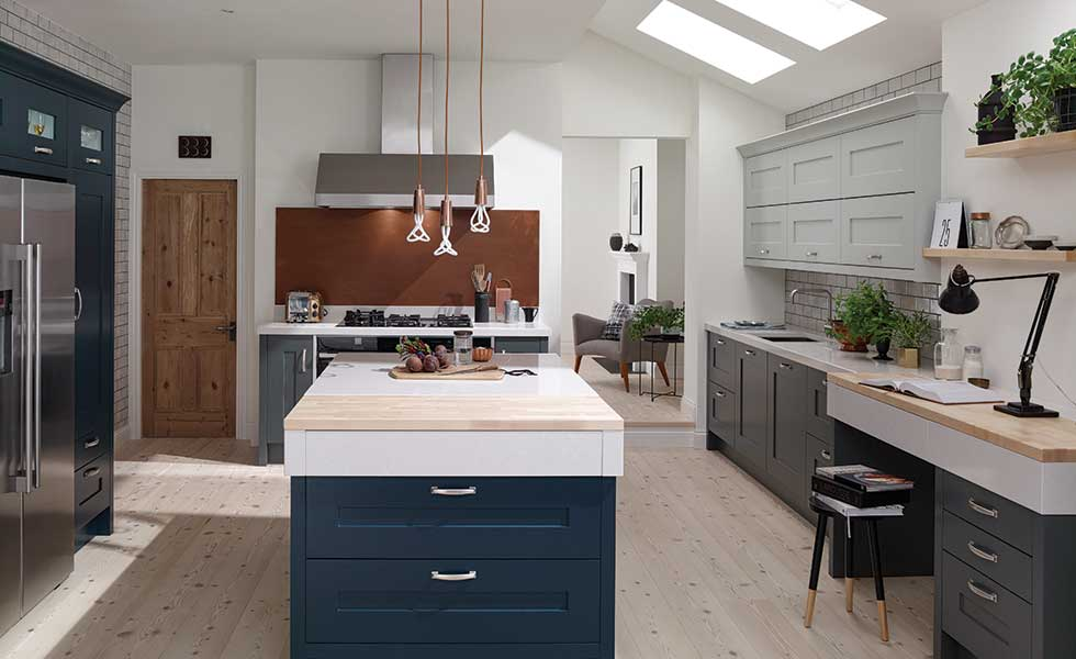 The latest kitchen layout ideas real homes for Dark blue kitchen units