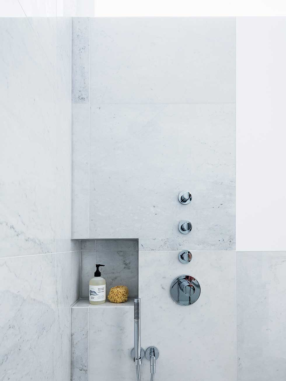 london flat marble shower storage shelf
