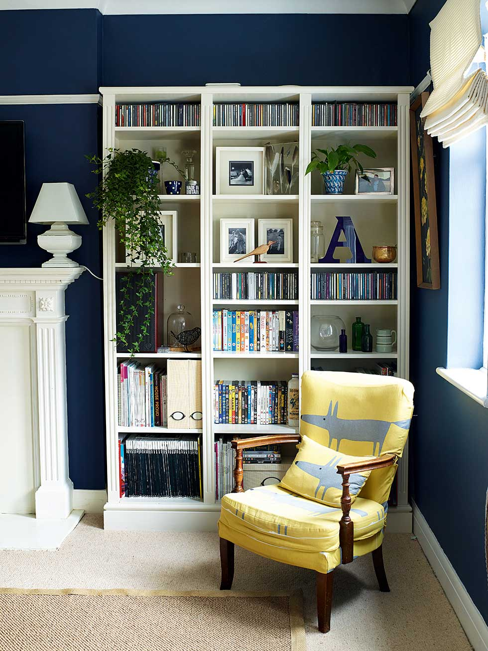 Navy Blue Living Room With White Storage