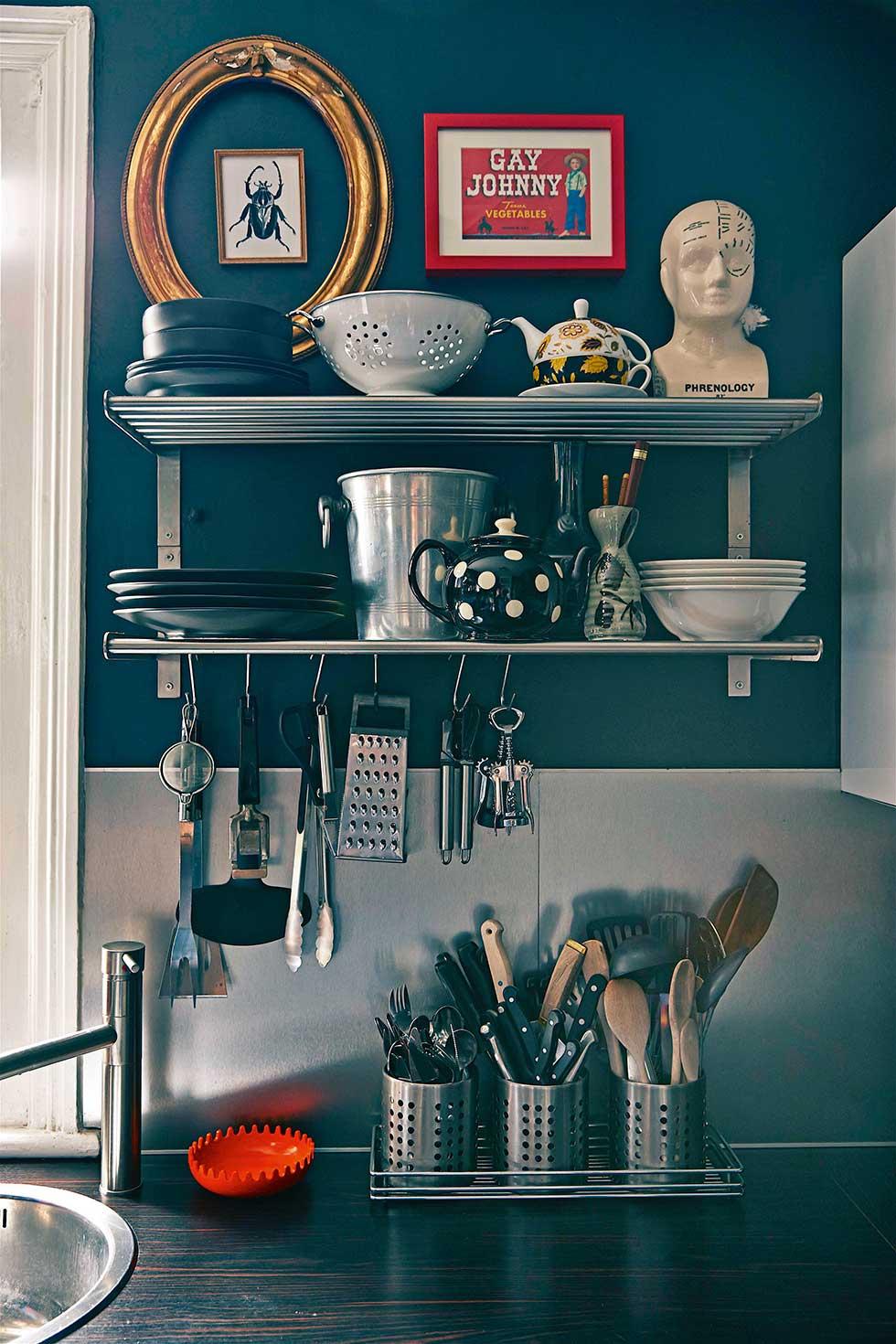Duplex apartment kitchen utensils on shelves