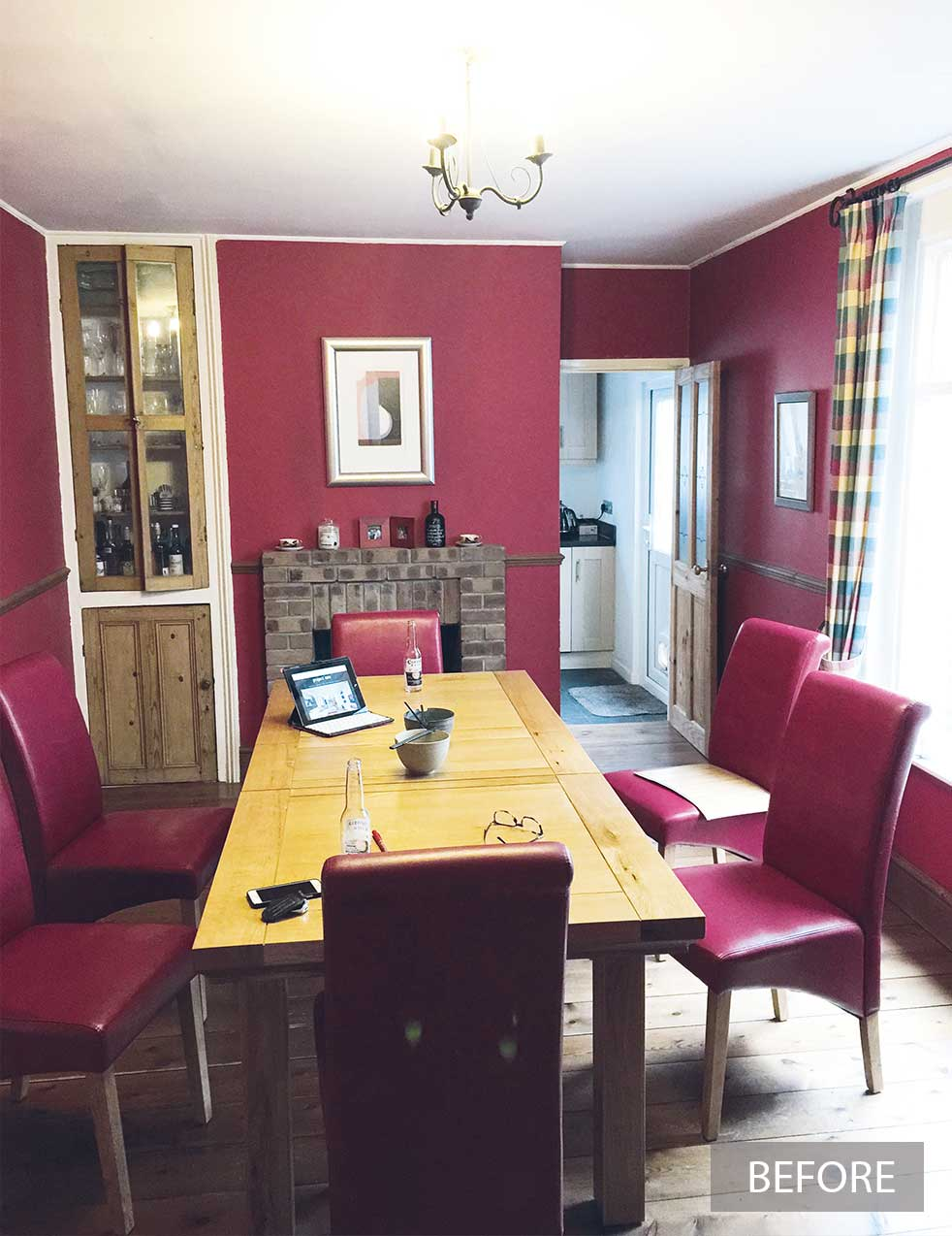 Red dining room before renovation work