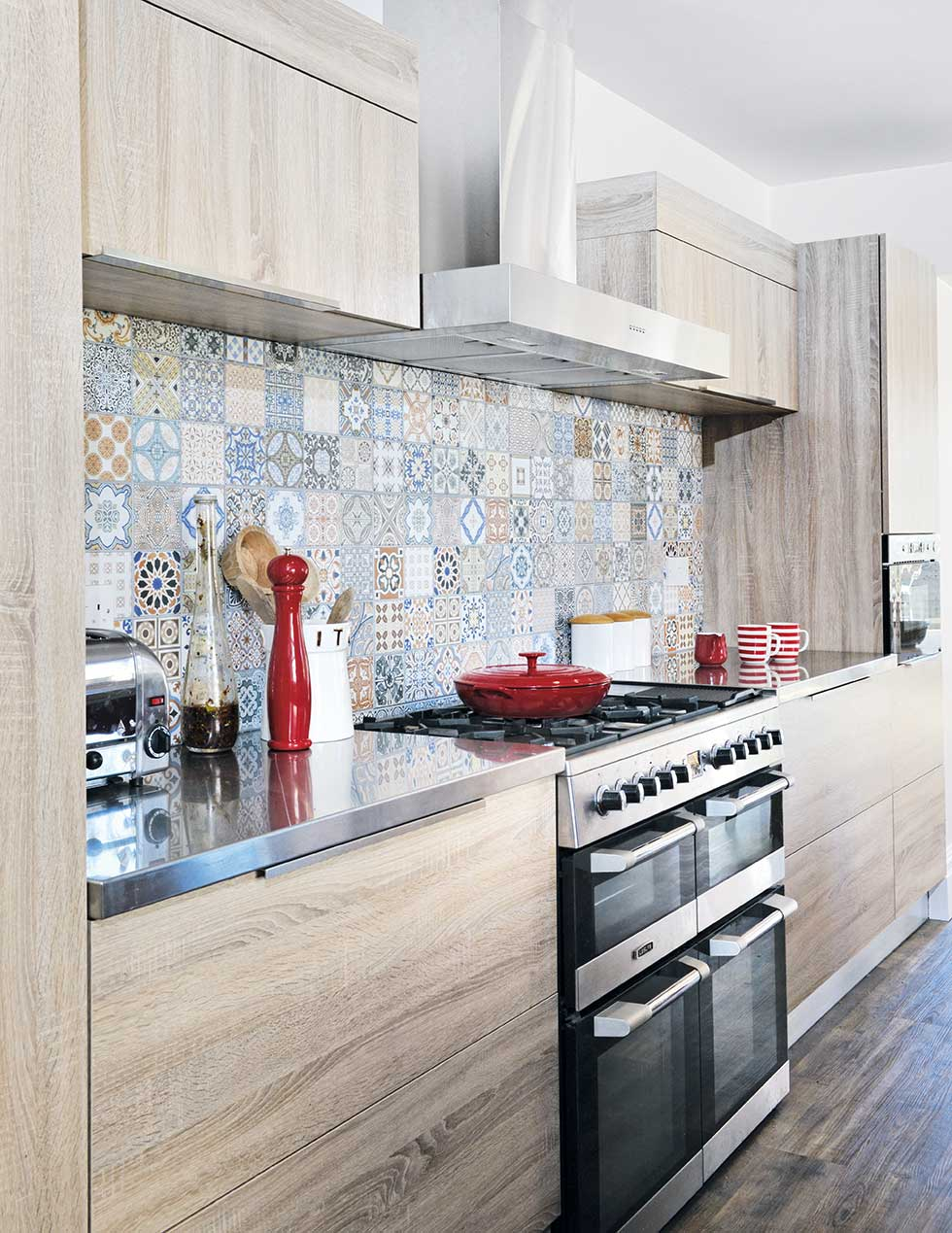 moroccan tiles oven in kitchen-diner extension