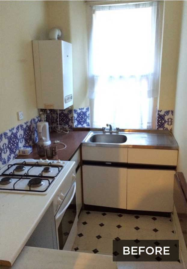 small london flat kitchen before renovation