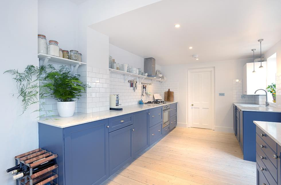 London flat extension blue kitchen units