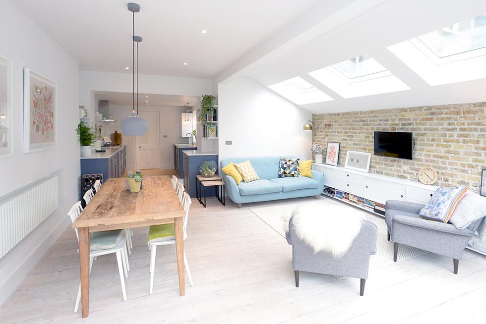 London flat extension open plan kitchen living dining