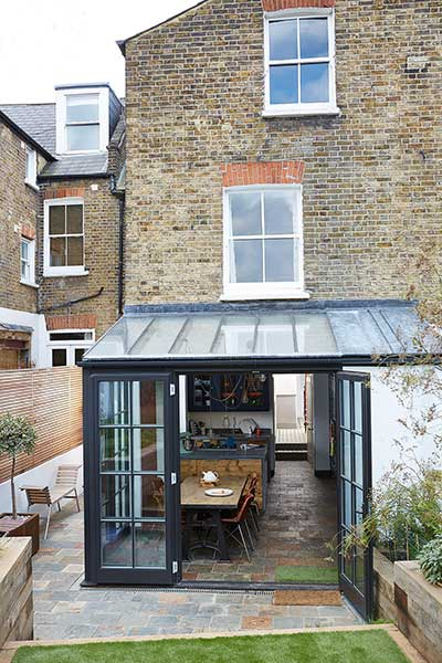 Glazed extension to an edwardian terraced house real homes for Garden house extension