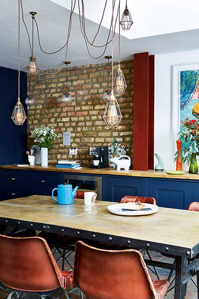 industrial style kitchen diner in glazed extension