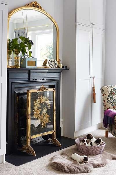 fireplace in an edwardian bedroom
