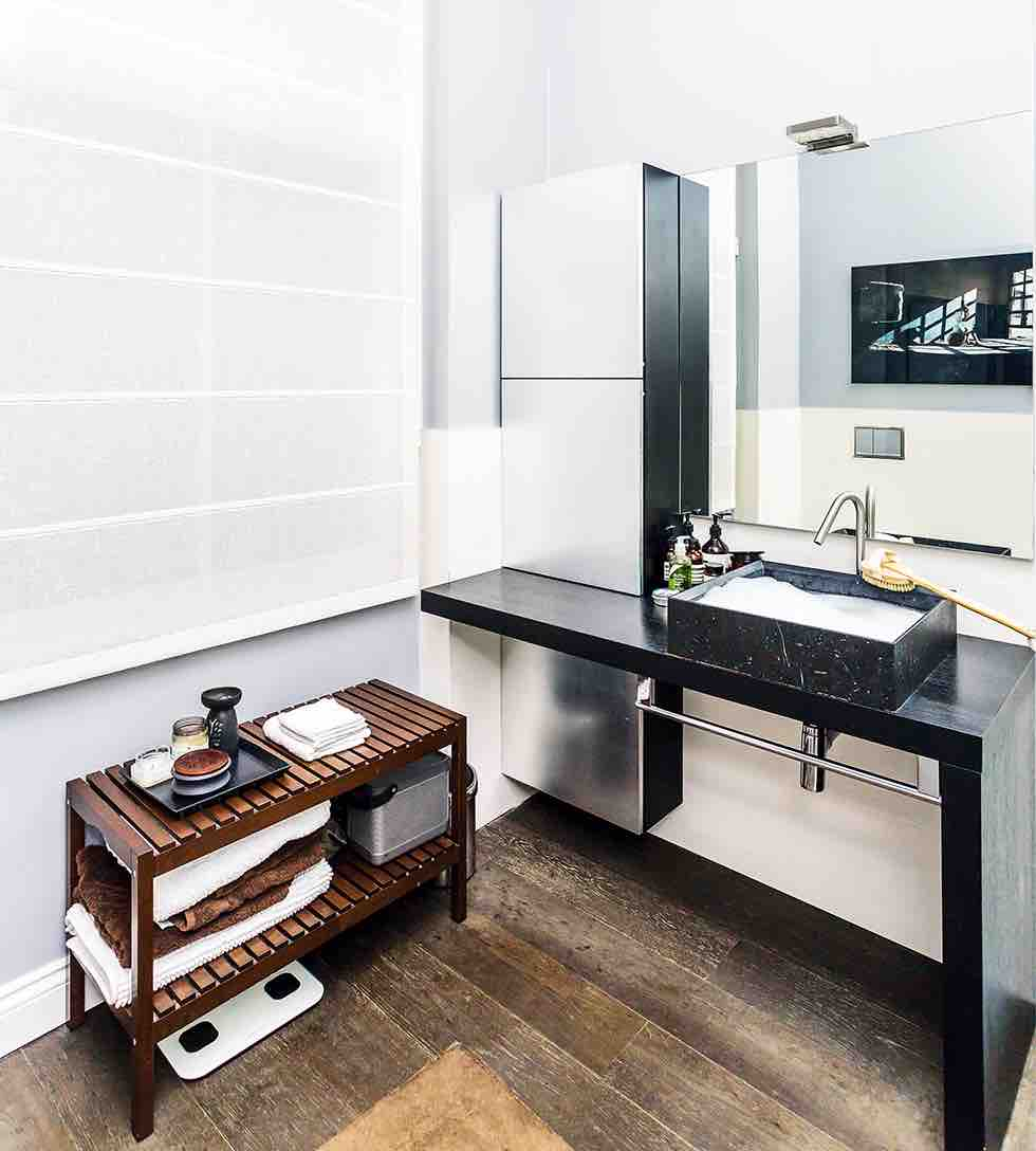 Small london flat bathroom sink storage