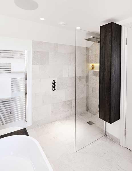 scandinavian style master bedroom suite almost frameless shower