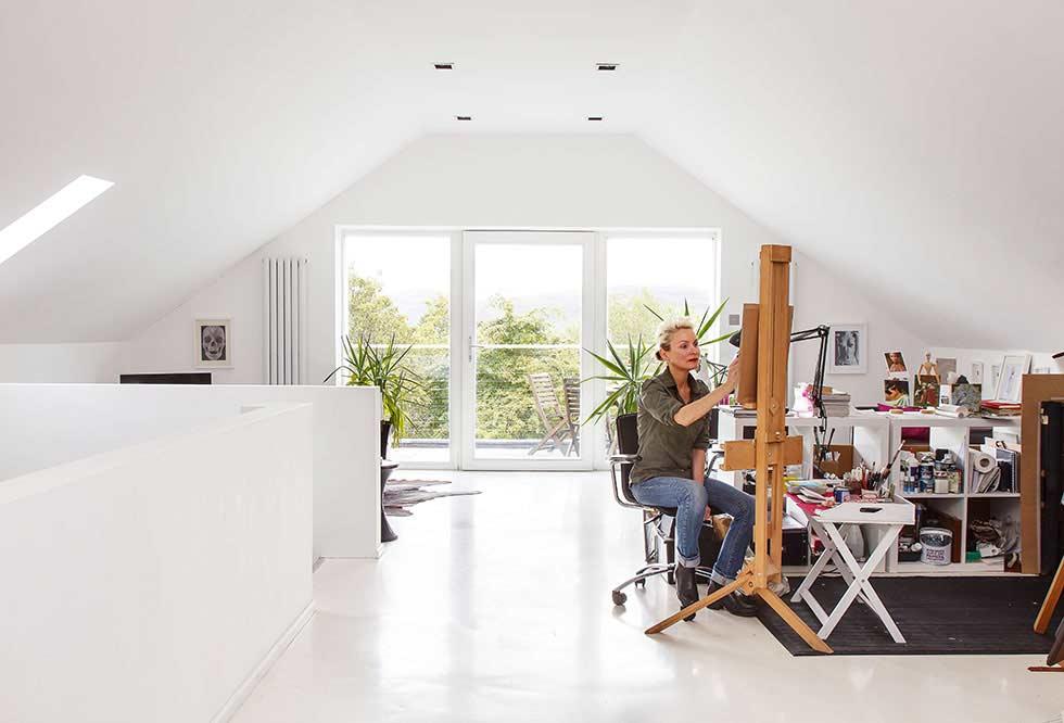 art studio in a stone barn conversion