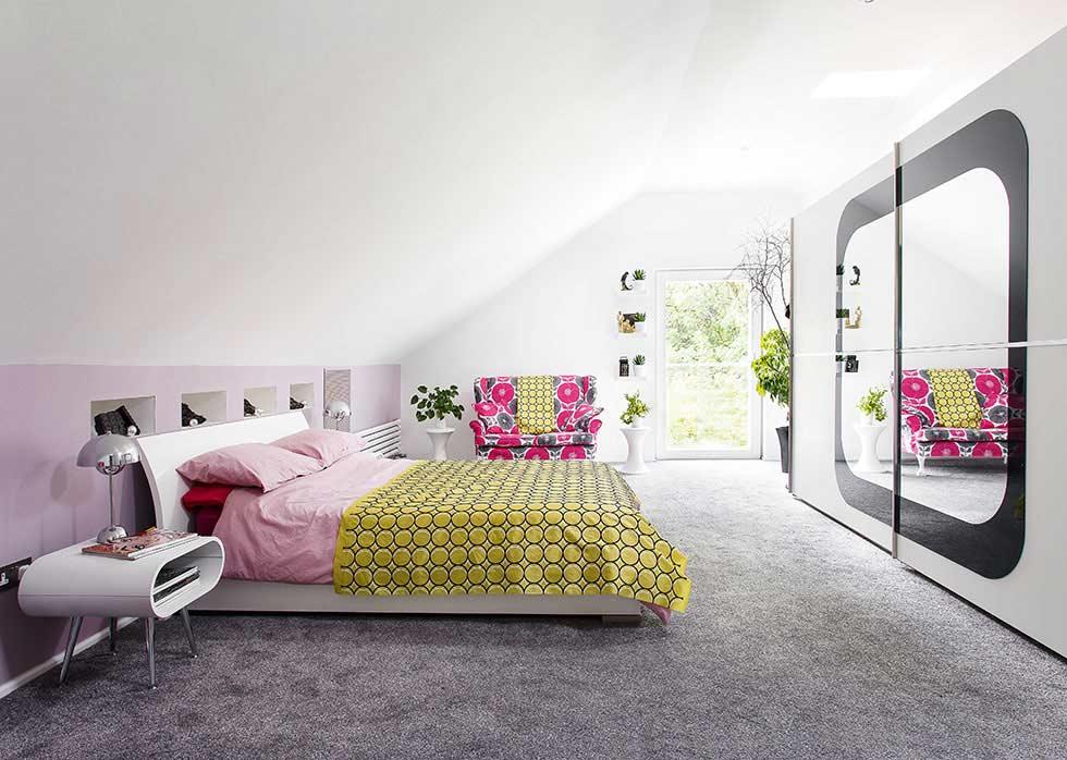 colourful master suite in a stone barn conversion