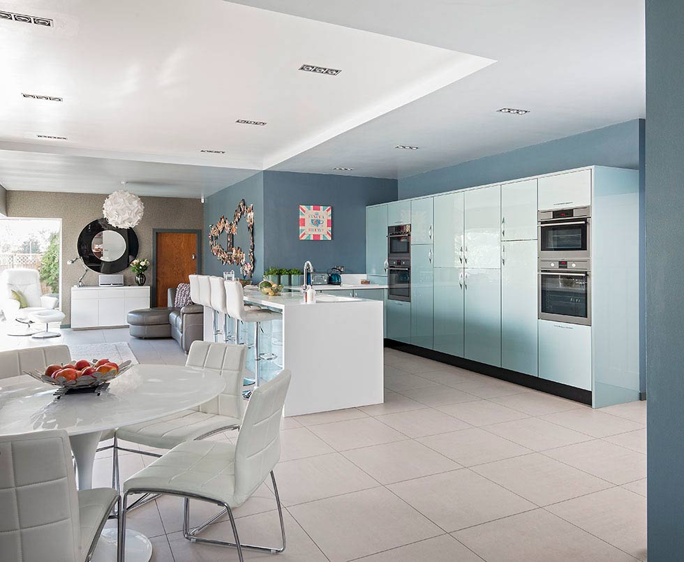 contemporary blue high-gloss kitchen